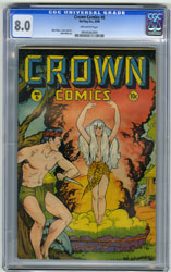CROWN COMICS # 6 (1946) CGC VF 8.0 OW Pgs MATT BAKER