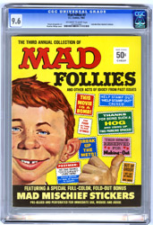 MAD FOLLIES #3 (1965) CGC NM+ 9.6 OWW Pgs STICKERS