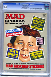 MAD SPECIAL #6 (1972) CGC NM 9.4 OWW Pgs STICKERS