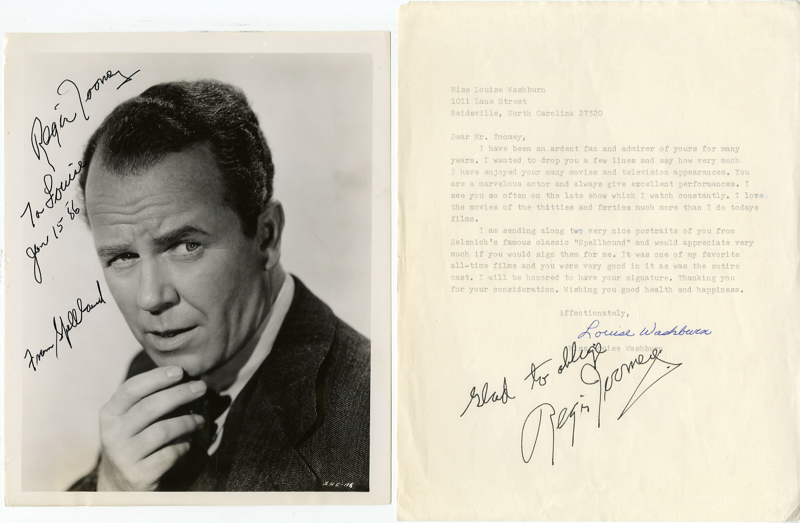 Regis Toomey REGIS TOOMEY SIGNED PHOTO from
