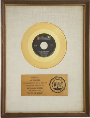"3 DOG NIGHT - GOLD RECORD FOR ""JOY TO THE WORLD"" FRAMED"
