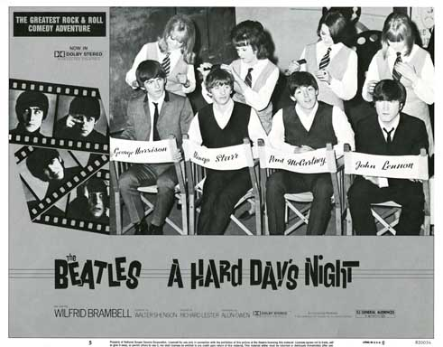 A HARD DAYS NIGHT (Universal, R-1982) Lobby Card THE BEATLES