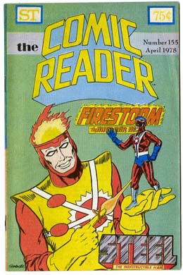 COMIC READER #155 FANZINE (1978) FIRESTORM / STEEL CVR