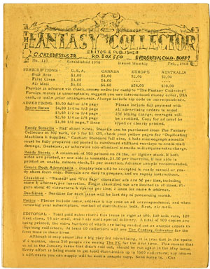 FANTASY COLLECTOR #110 FANZINE (1968) ADZINE