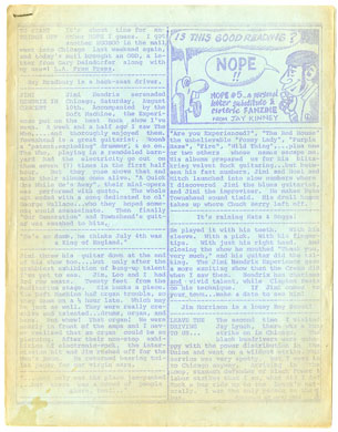 NOPE #5 FANZINE (1968) JIMI HENDRIX COUNTERCULTURE ZINE