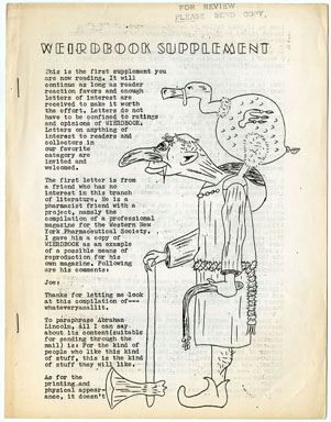 WEIRDBOOK SUPPLEMENT #1 FANZINE (1968)  LETTERS