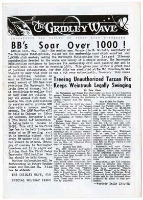 GRIDLEY WAVE #16 BURROUGHS Fanzine TARZAN'S X-MAS 1964
