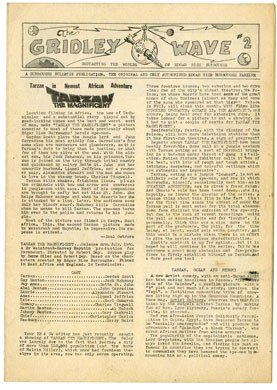 GRIDLEY WAVE #2 FANZINE (1960) E.R. BURROUGHS TARZAN