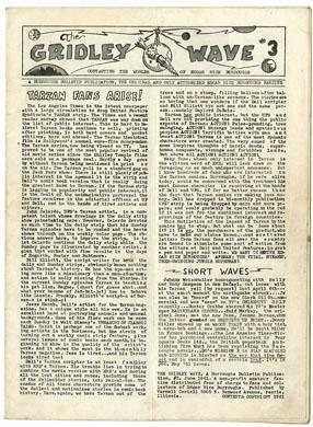 GRIDLEY WAVE #3 FANZINE (1961) EDGAR RICE BURROUGHS