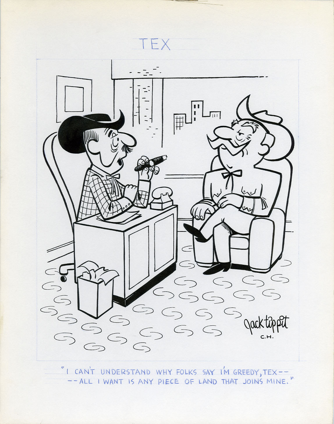JACK TIPPIT - TEX DAILY STRIP 1970s GREEDY LANDOWNERS