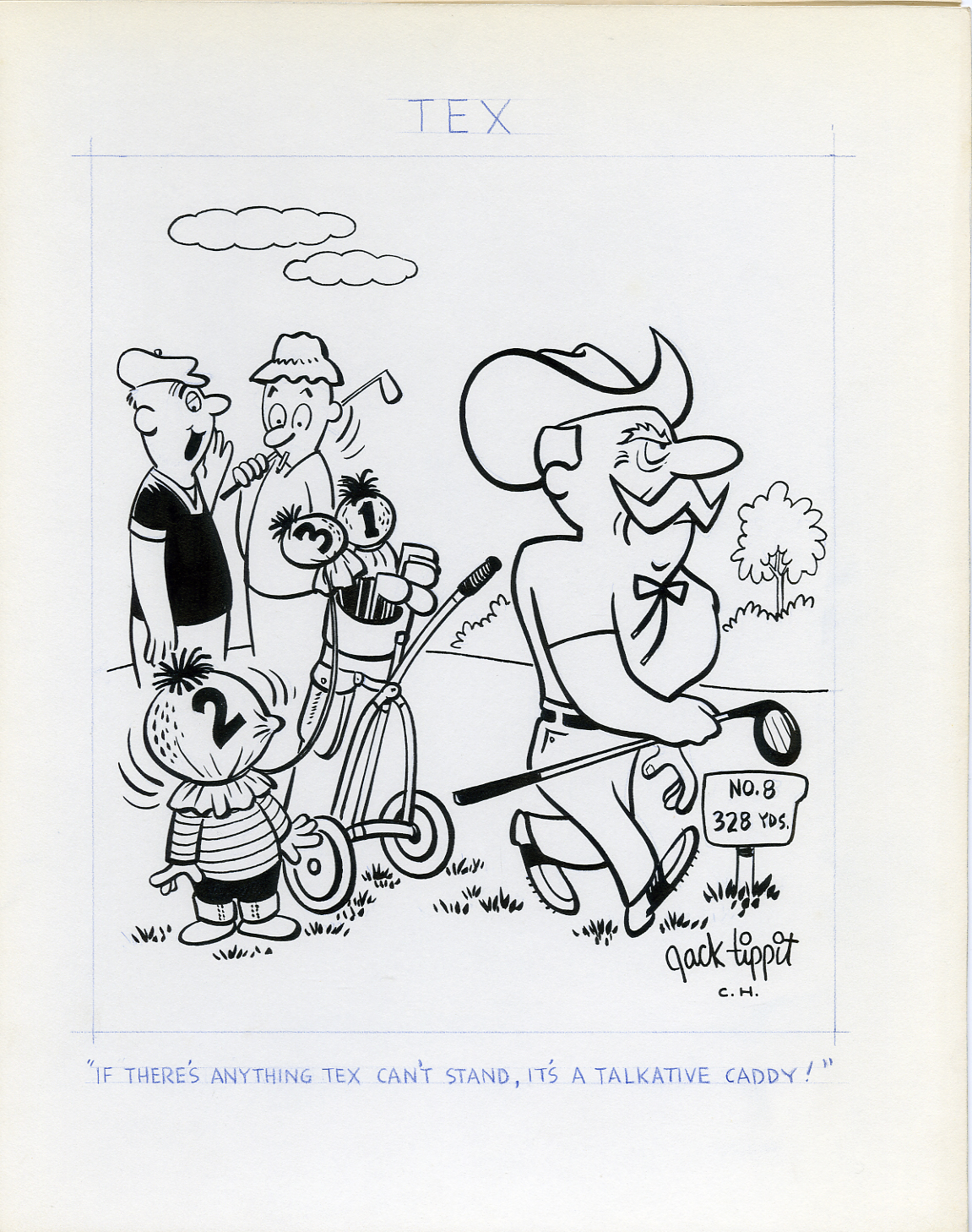 JACK TIPPIT - TEX DAILY STRIP 1970s GOLF / BAD CADDY