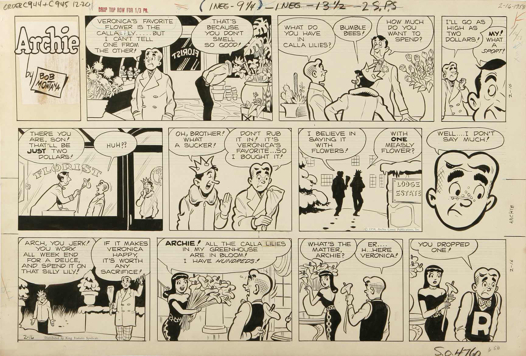 BOB MONTANA - ARCHIE SUNDAY STRIP ORIG ART 2-16-58 Lily