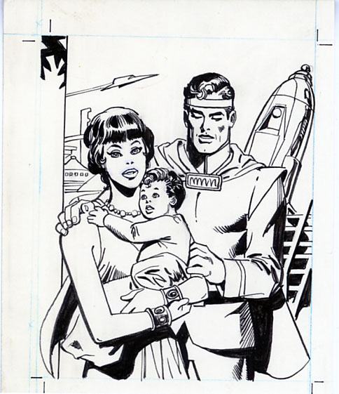 ROSS ANDRU - SUNBEAM BREAD SUPERMAN TRADING CARD #7 ORIG ART / JOR-EL & LARA