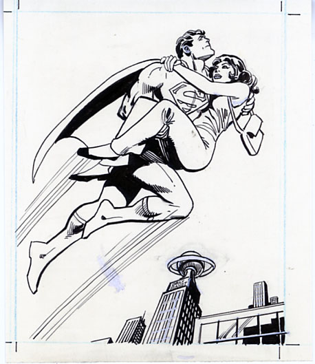 ROSS ANDRU - SUNBEAM BREAD SUPERMAN TRADING CARD #9 ORIG ART / LOIS LANE