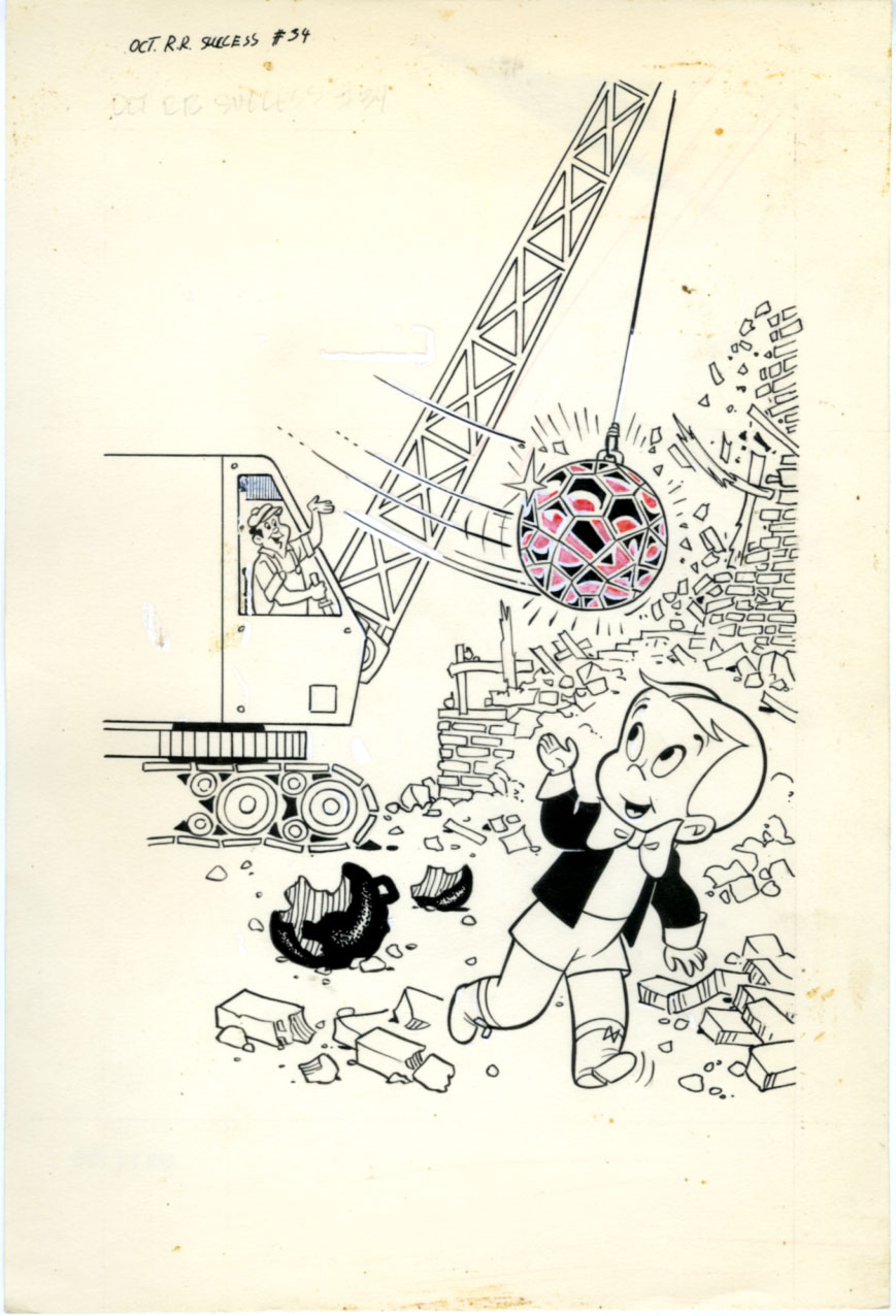 WARREN KREMER - RICHIE RICH SUCCESS #34 ORIGINAL COVER ART (1970) WRECKING BALL