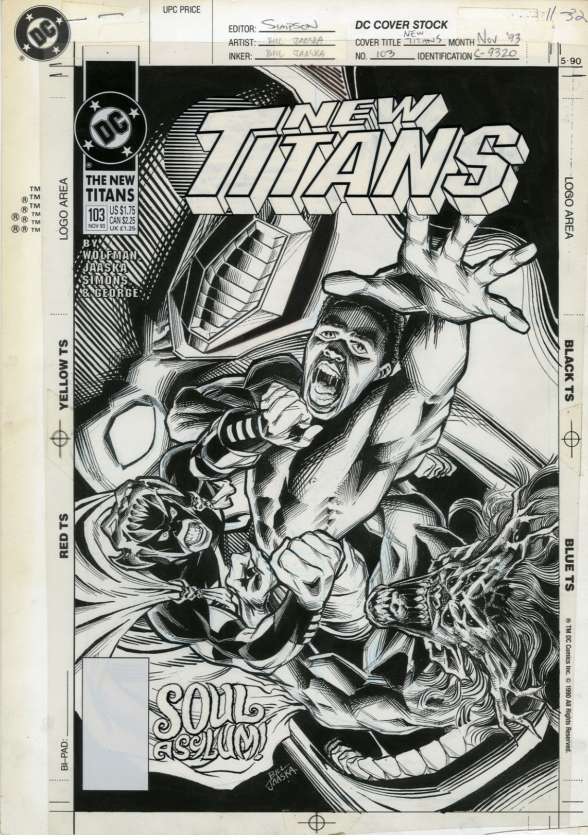 "BILL JAASKA - NEW TITANS #103 ORIGINAL COVER ART ""SOUL ASYLUM!"""