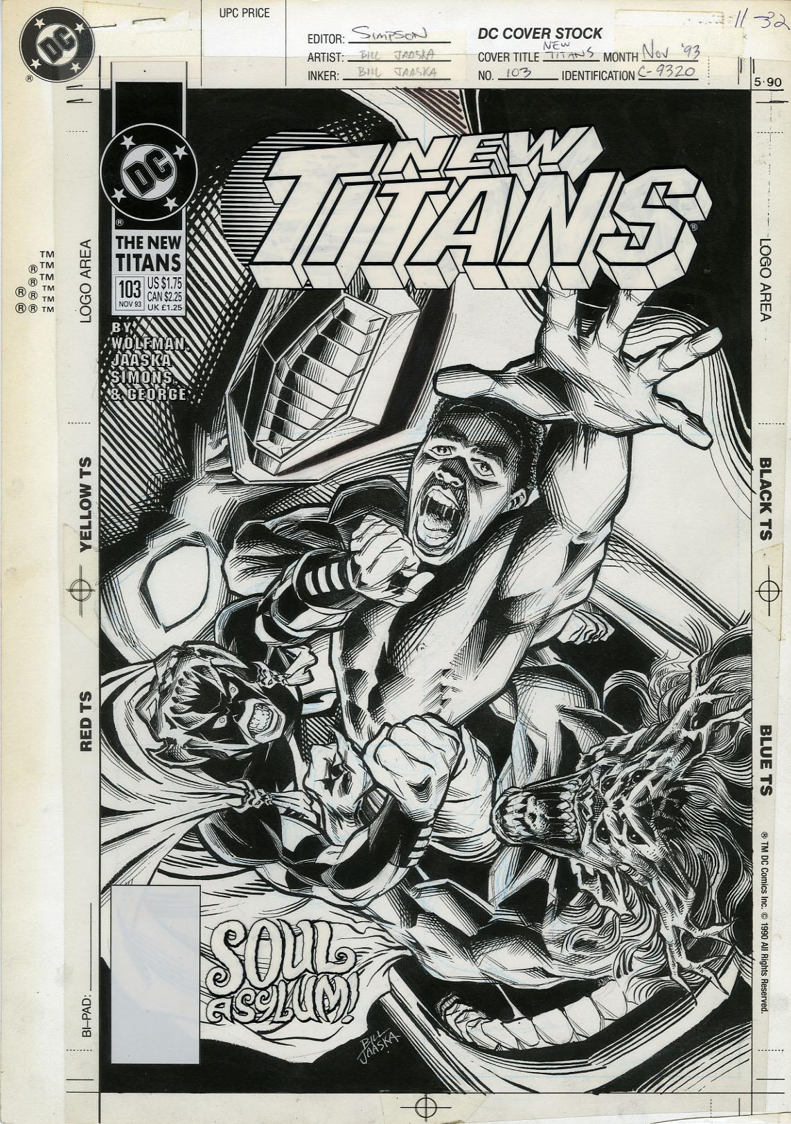 "BILL JAASKA - NEW TITANS #103 ORIGINAL COVER ART ""SOUL ASYLUM!"""