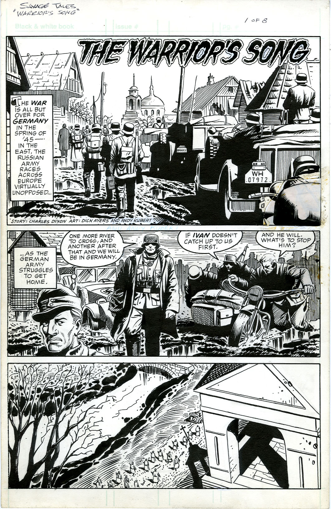 DICK AYERS / ANDY KUBERT - SAVAGE TALES UNPUBLISHED 8-PAGE STORY ORIGINAL ART