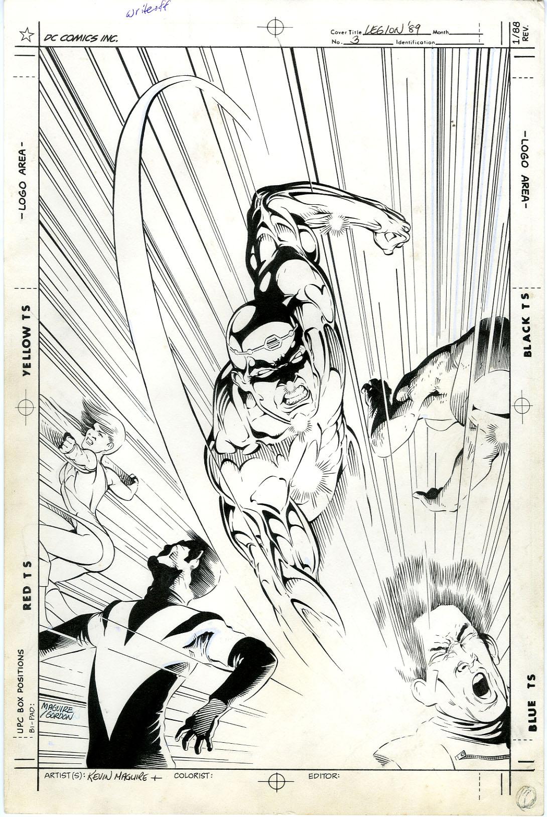 KEVIN MAGUIRE / AL GORDON - UNPUBLISHED L.E.G.I.O.N. '89 #3 COVER ORIGINAL ART