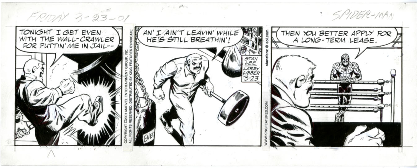 LARRY LIEBER - AMAZING SPIDER-MAN DAILY 3-23-01 ORIG ART / VOLTAN - BOXING RING