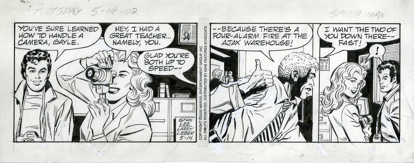 LARRY LIEBER - AMAZING SPIDER-MAN DAILY STRIP 5-14-02 ORIG ART/ ROBBIE ROBERTSON