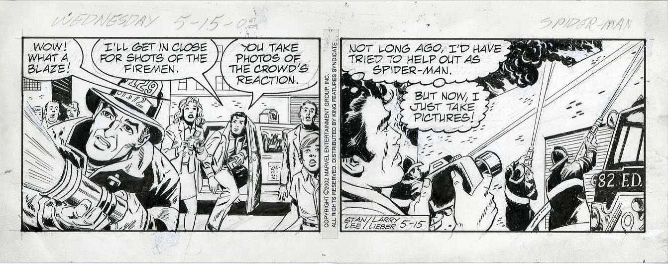 LARRY LIEBER - AMAZING SPIDER-MAN DAILY STRIP 5-15-02 ORIG ART / FIRE DEPARTMENT