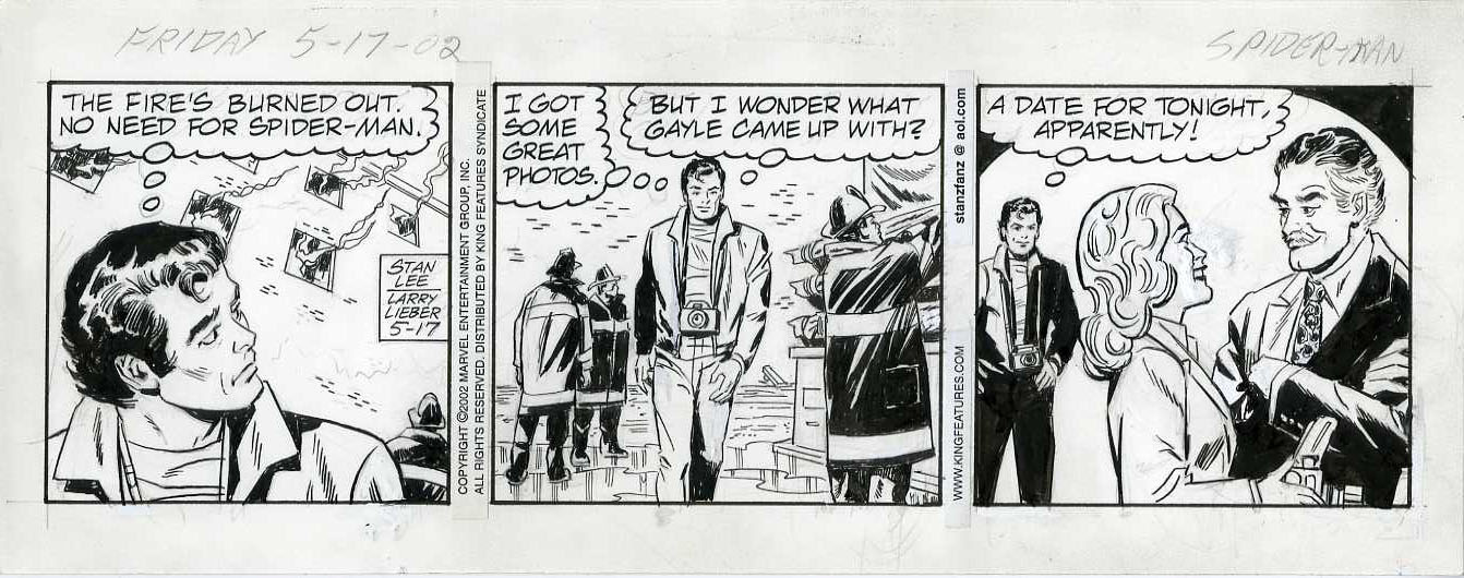 LARRY LIEBER - AMAZING SPIDER-MAN DAILY STRIP 5-17-02 ORIG ART / AFTER THE FIRE