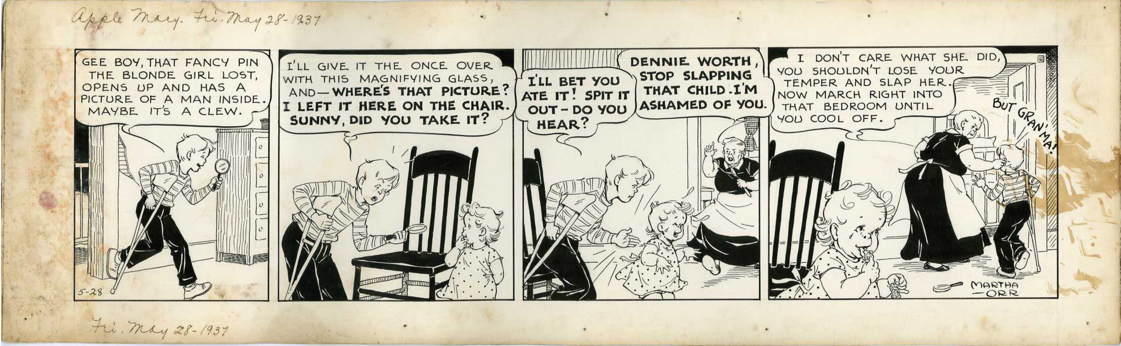 MARTHA ORR - APPLE MARY DAILY ORIGINAL ART 5-28-37 SPIT IT OUT!