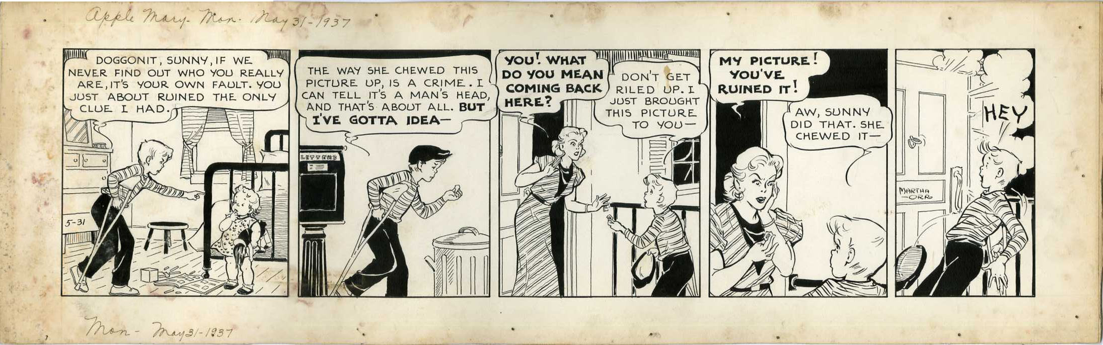 MARTHA ORR - APPLE MARY DAILY ORIGINAL ART 5-31-37 ONLY CLUE RUINED