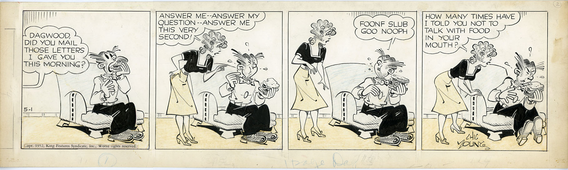 JIM RAYMOND - BLONDIE DAILY STRIP ORIGINAL ART 5-1-52 / DAGWOOD SANDWICH