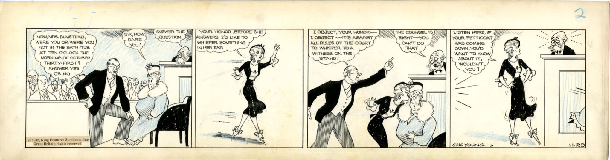 CHIC YOUNG - BLONDIE DAILY COMIC STRIP ORIG ART 11-29-32 / WHISPER TO A WITNESS