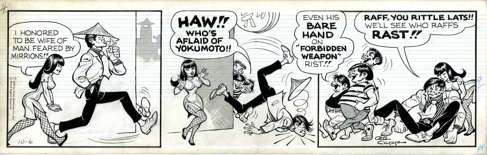 AL CAPP - LI'L ABNER DAILY COMIC STRIP DATED 10-6-66 / LI'L ABNAI YOKUMOTO