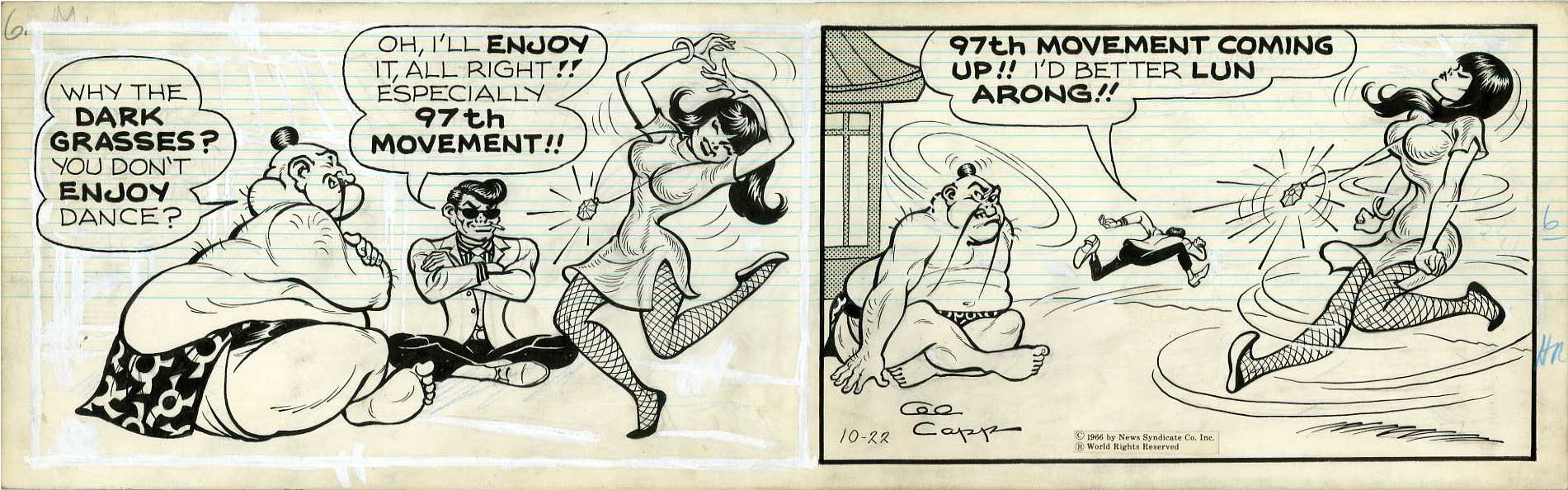 AL CAPP - LI'L ABNER DAILY COMIC STRIP DATED 10-22-66 / LI'L ABNAI YOKUMOTO