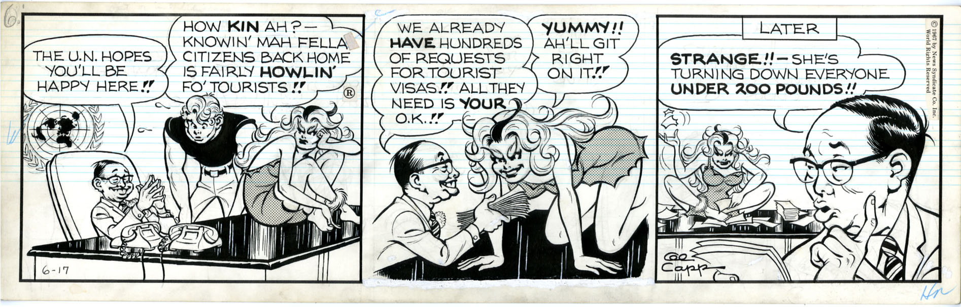 AL CAPP - LI'L ABNER DAILY COMIC STRIP DATED 6-17-67 / WOLF-GAL / UNDER 200 LBS.