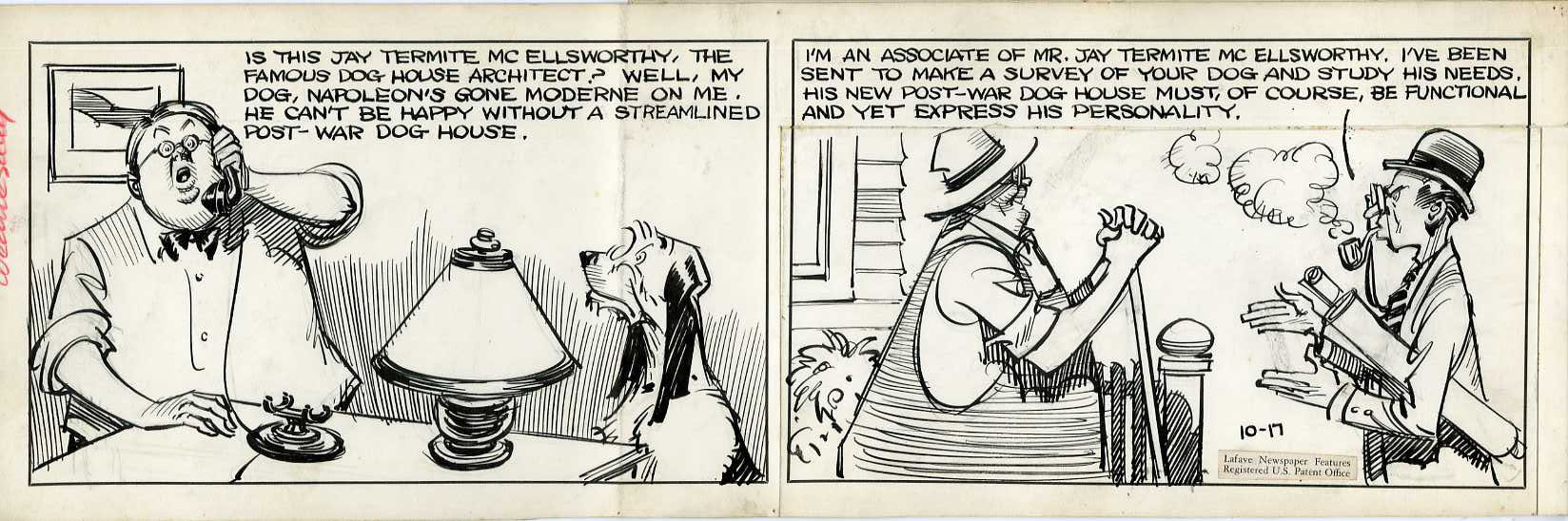 CLIFFORD McBRIDE - NAPOLEON DAILY STRIP ORIG ART 10-17 1940s / DOG ARCHITECT