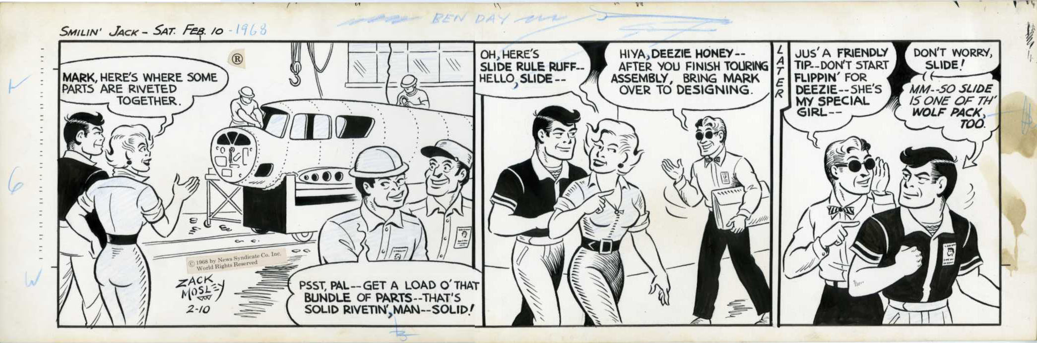ZACK MOSLEY - SMILIN' JACK DAILY STRIP ORIG ART 2-10-68 SLIDE RULE RUFF