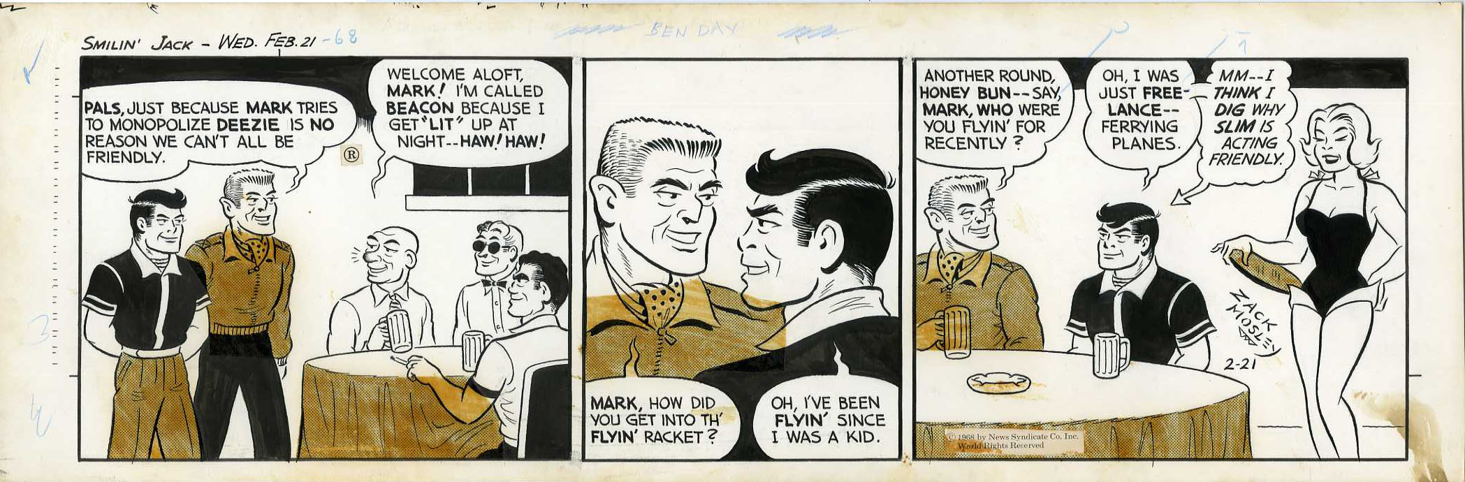 ZACK MOSLEY - SMILIN' JACK DAILY STRIP ORIG ART 2-21-68 ANOTHER ROUND HONEY BUN