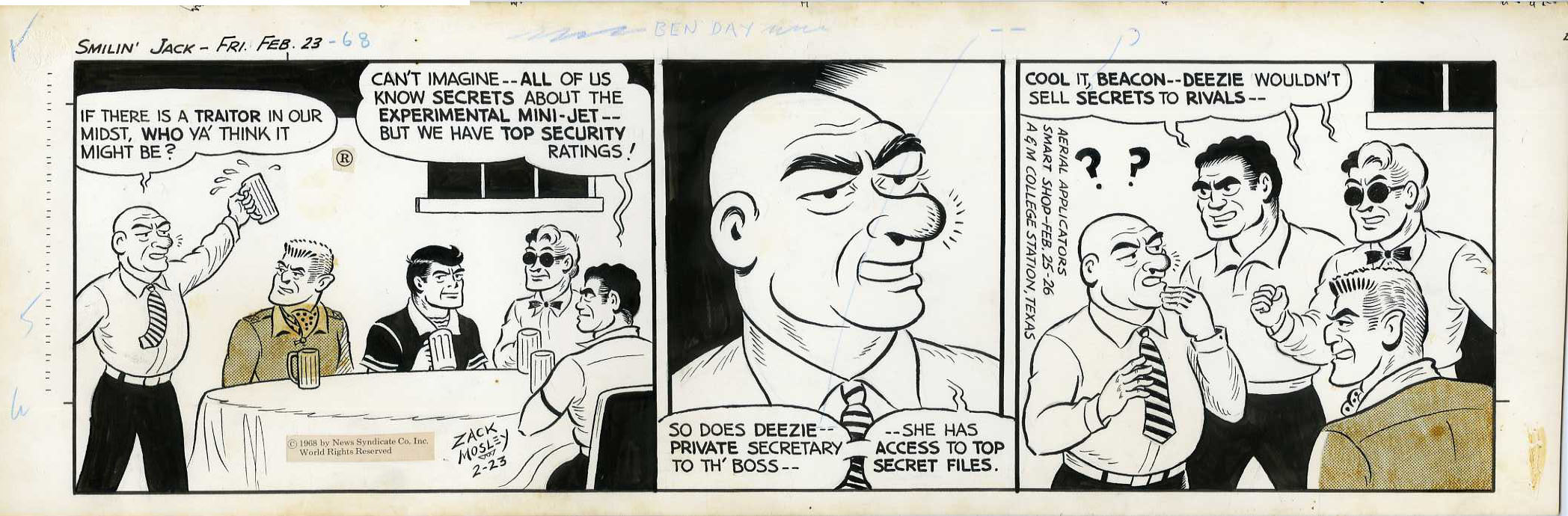 ZACK MOSLEY - SMILIN' JACK DAILY STRIP ORIG ART 2-23-68 COOL IT, BEACON