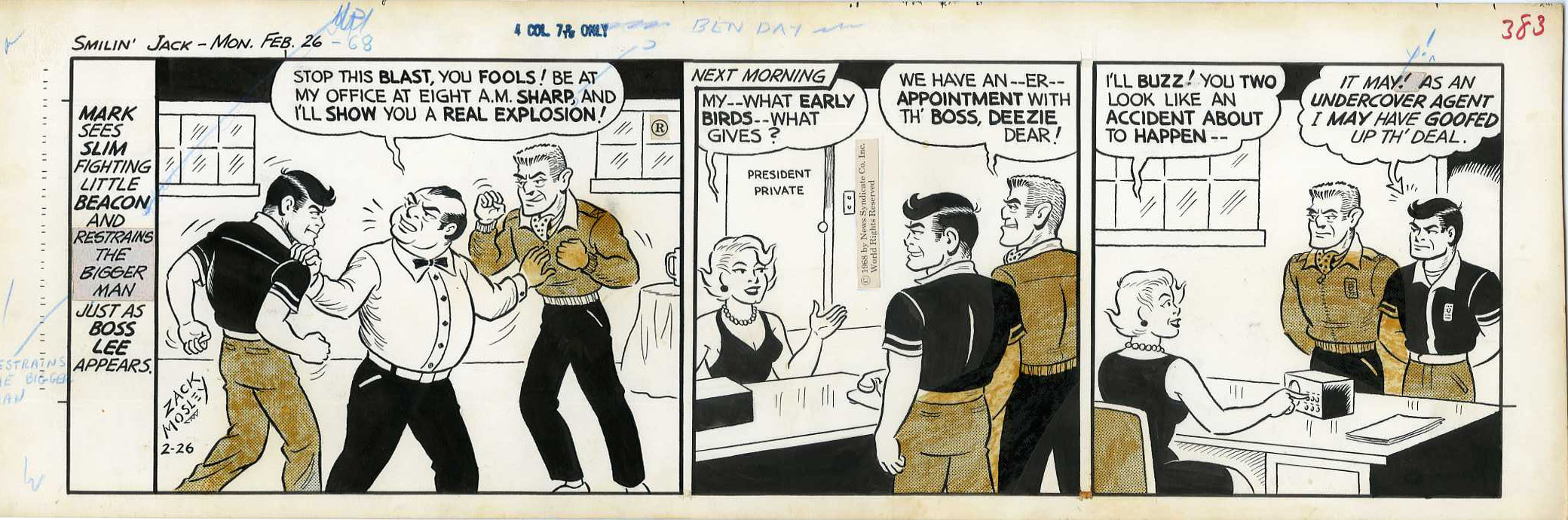 ZACK MOSLEY - SMILIN' JACK DAILY STRIP ORIG ART 2-26-68 APPT WITH THE BOSS