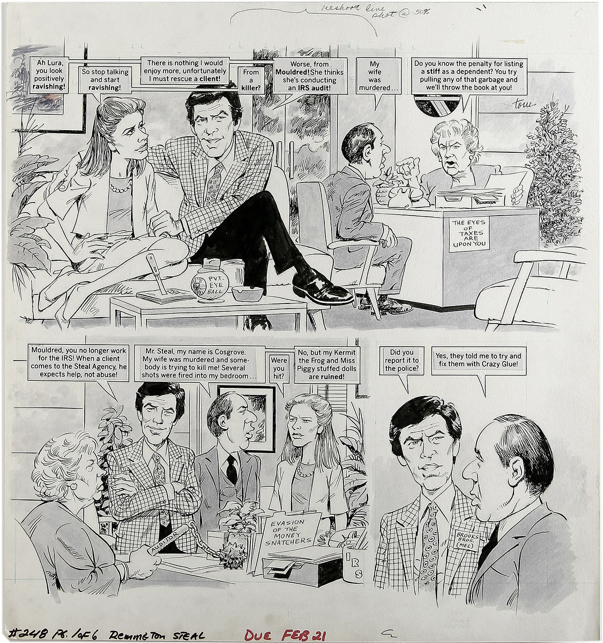 ANGELO TORRES - MAD #248 REMINGTON STEAL 6-PG STORY ORIG ART PIERCE BROSNAN 1984