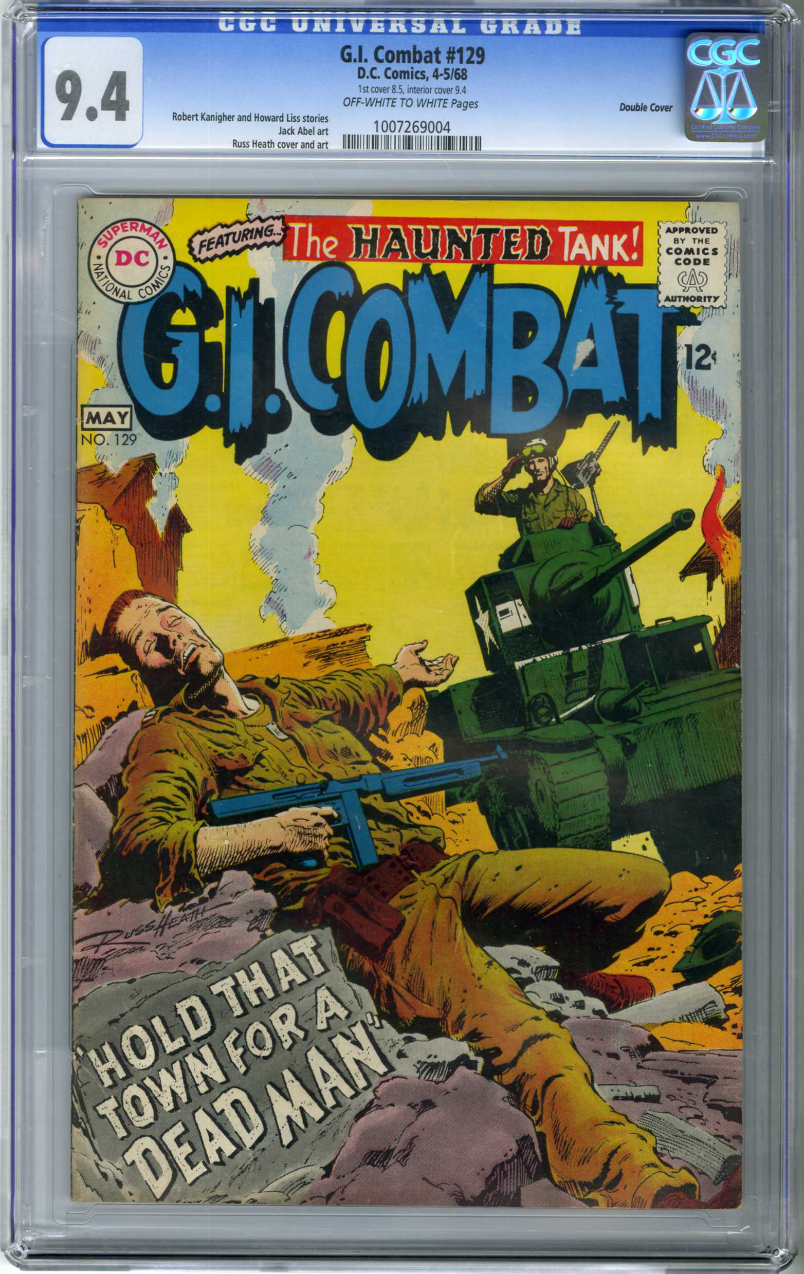 G.I. COMBAT #129 (1968) CGC NM 9.4 COW Pages DOUBLE COVER / RUSS HEATH ART