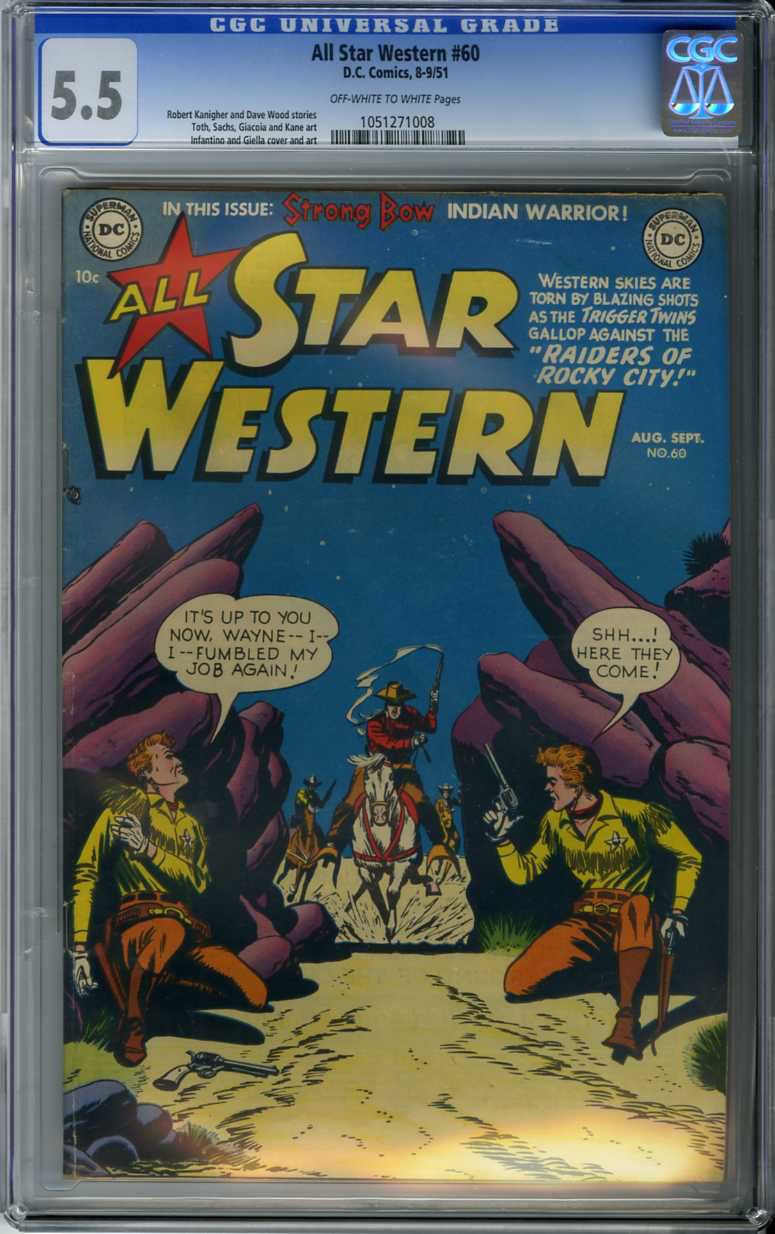 ALL STAR WESTERN #60 (1951) CGC FN- 5.5 OWW Pages INFANTINO COVER, TOTH ART