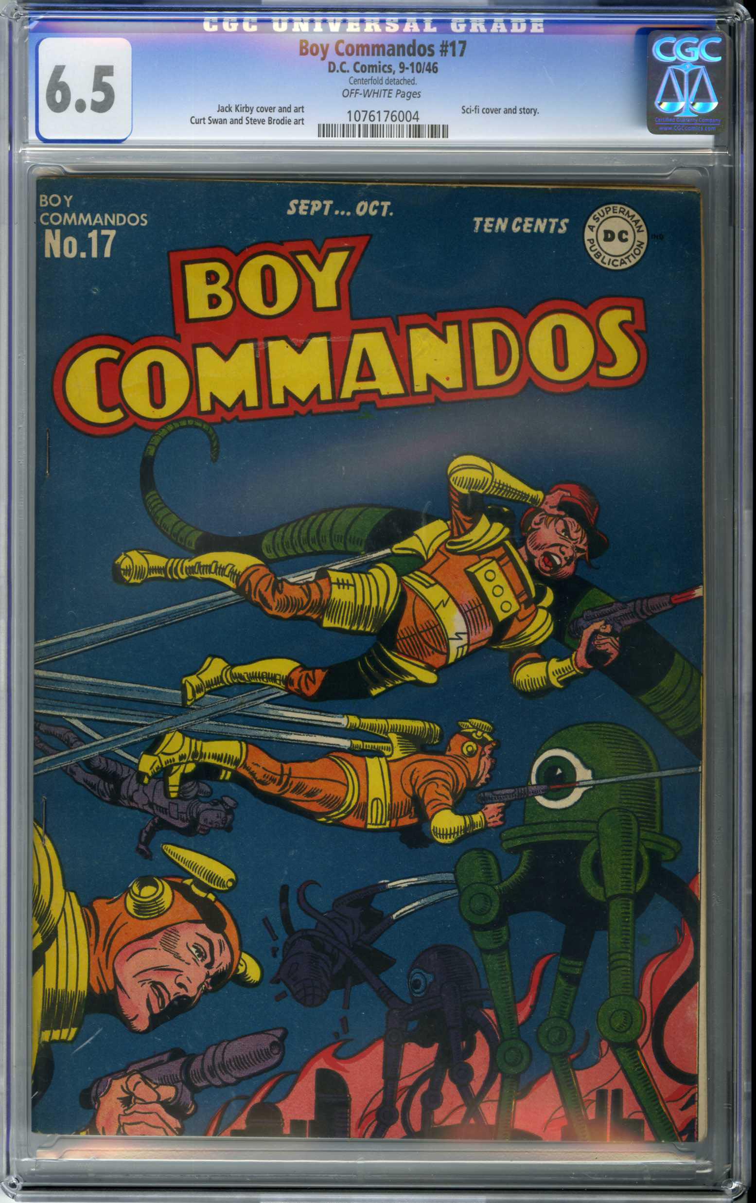 "BOY COMMANDOS #17 (1946) CGC FN+ 6.5 OW Pages ORIGIN / KIRBY ""SCI-FI"" COVER"