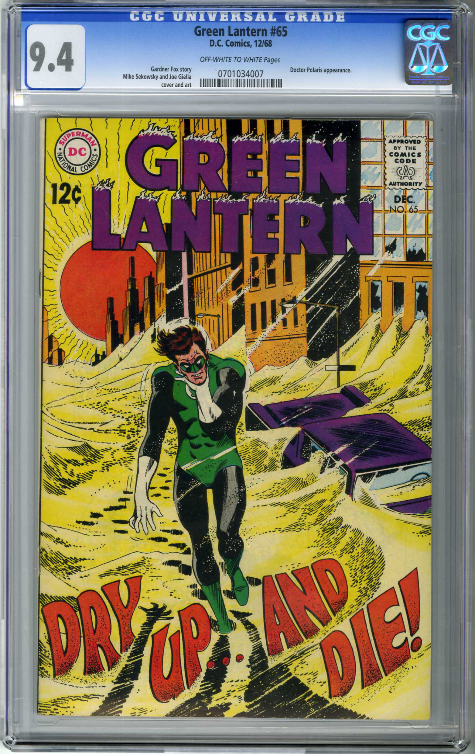 GREEN LANTERN #65 (1968) CGC NM 9.4 OWW Pages SEKOWSKY COVER / DR. POLARIS APPEARANCE