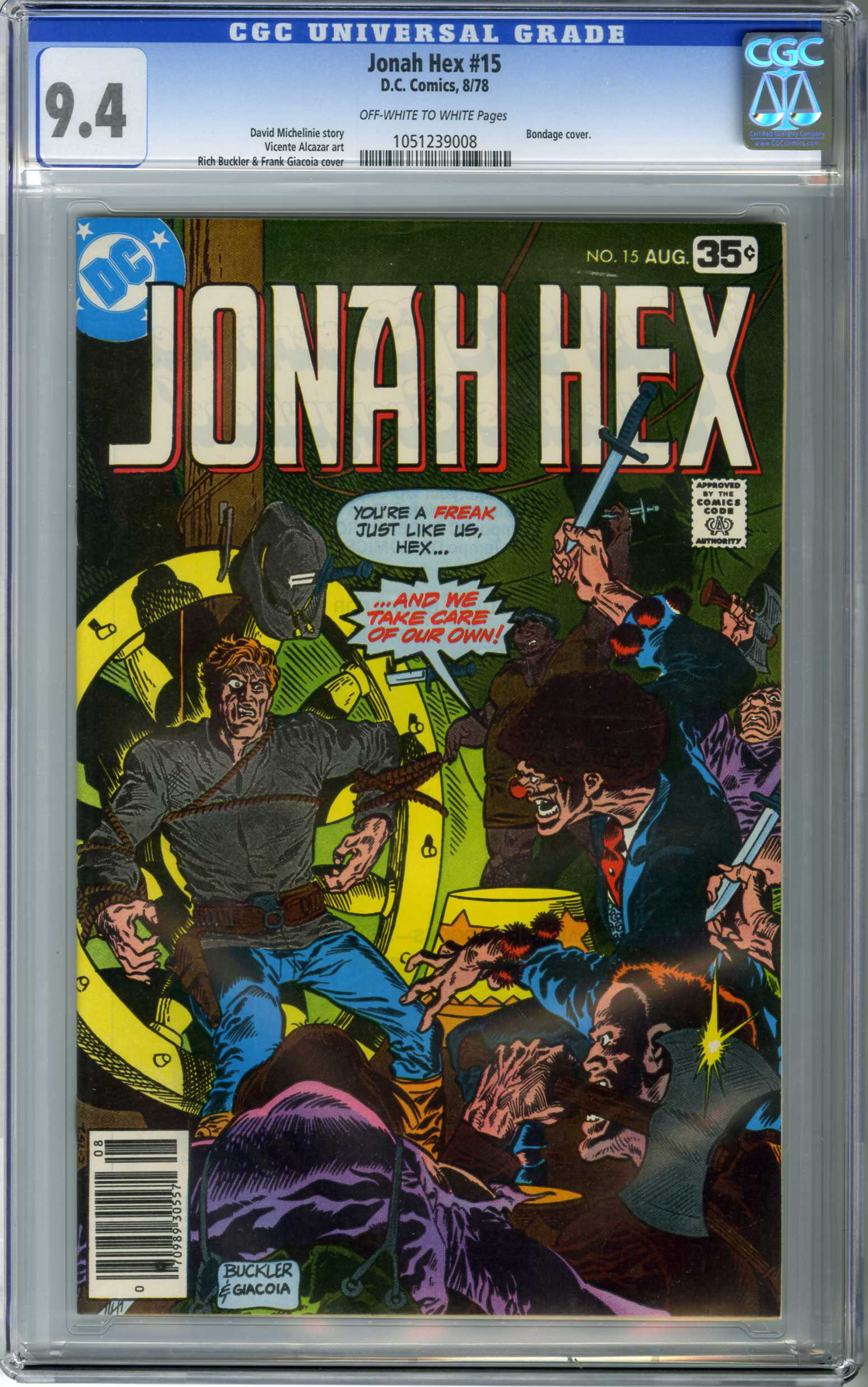 JONAH HEX #15 (1978) CGC NM 9.4 OWW Pages RICH BUCKLER CVR / BONDAGE COVER