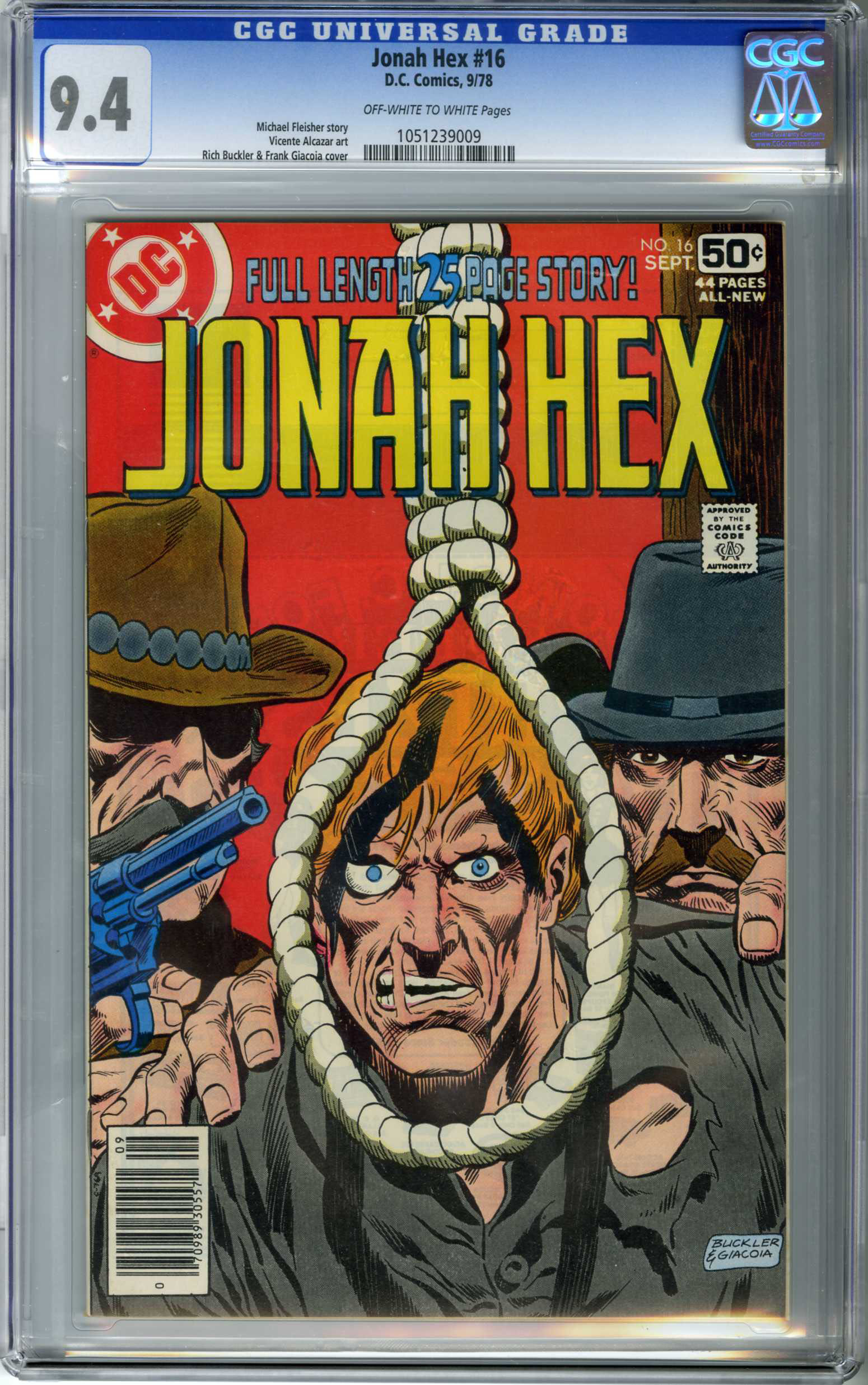 JONAH HEX #16 (1978) CGC NM 9.4 OWW Pages RICH BUCKLER CVR / HANGMAN'S NOOSE