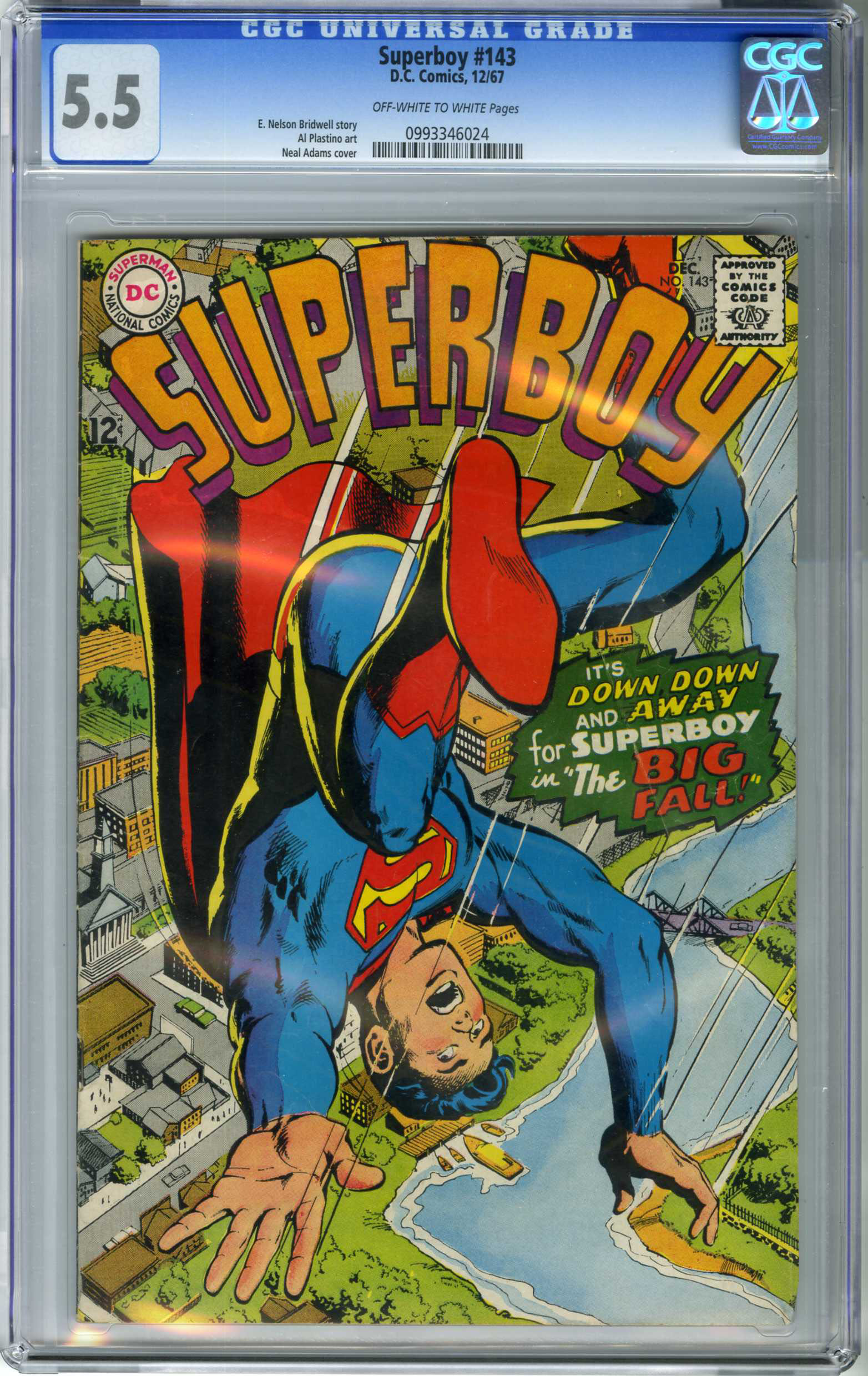 SUPERBOY #143 (1967) CGC FN- 5.5 OWW Pages / NEAL ADAMS COVER