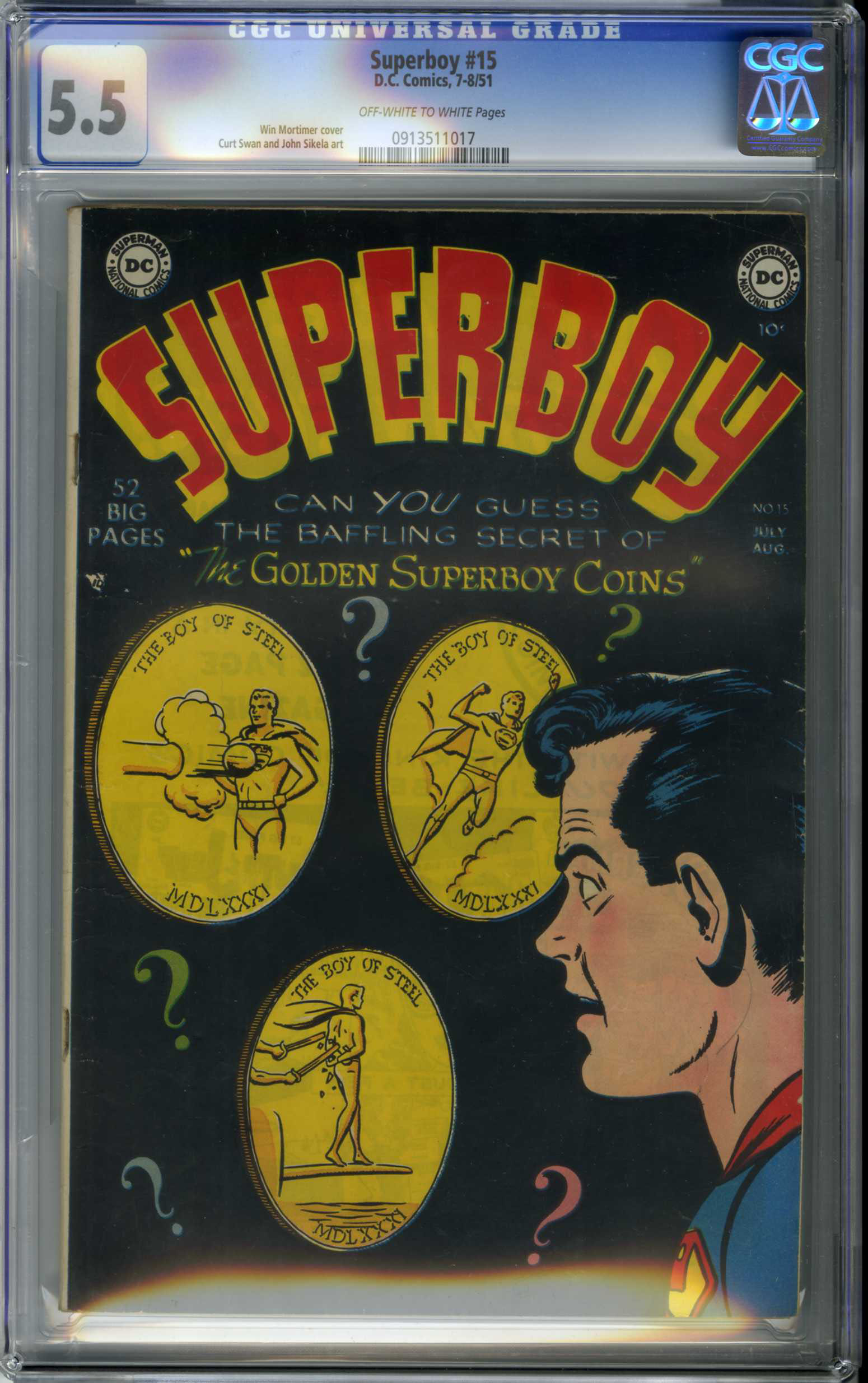SUPERBOY #15 (1951) CGC FN- 5.5 OWW Pages CURT SWAN ART / WIN MORTIMER COVER