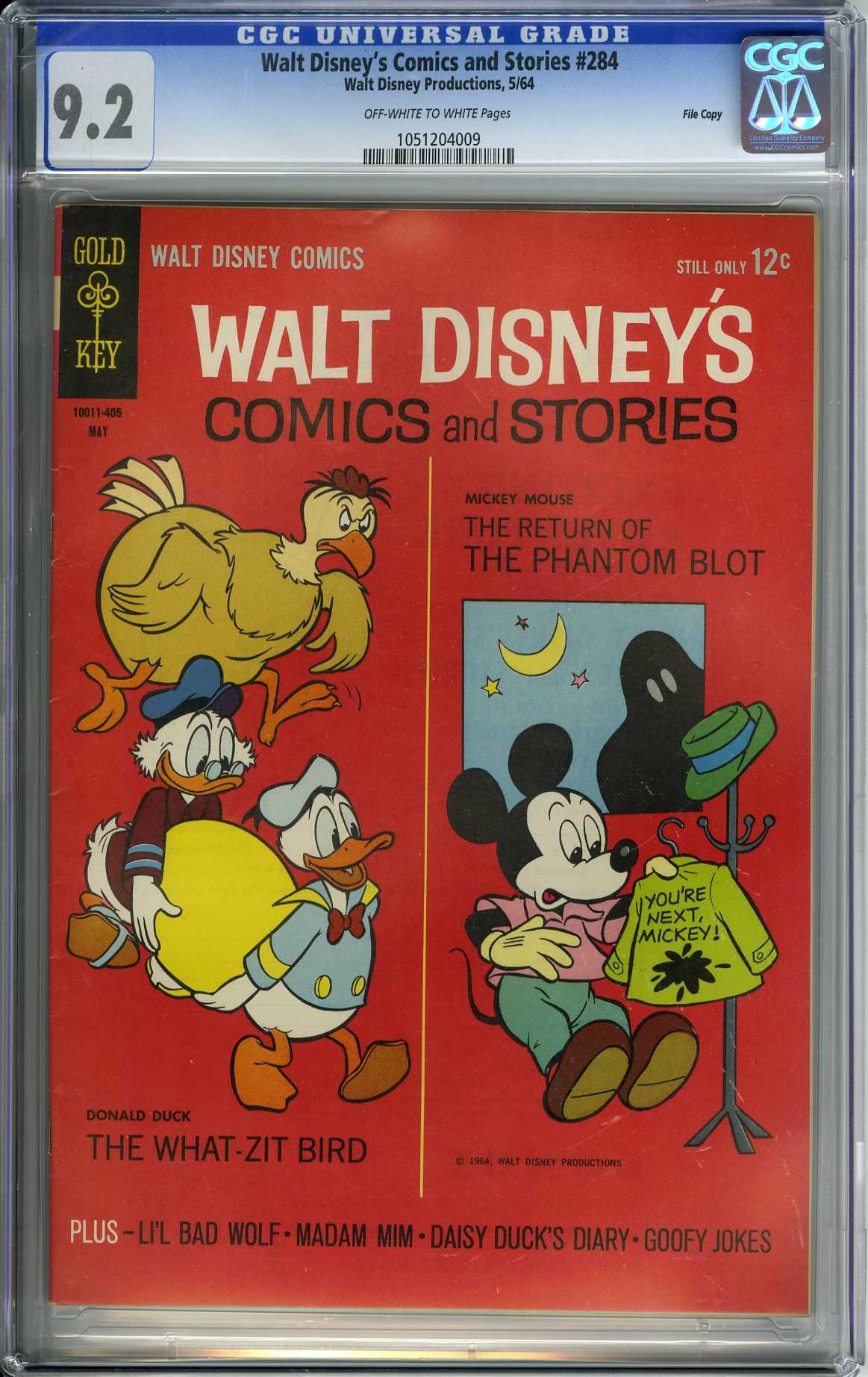 WALT DISNEY'S COMICS AND STORIES #284 1964 CGC NM- 9.2 ONLY GRADED! PHANTOM BLOT