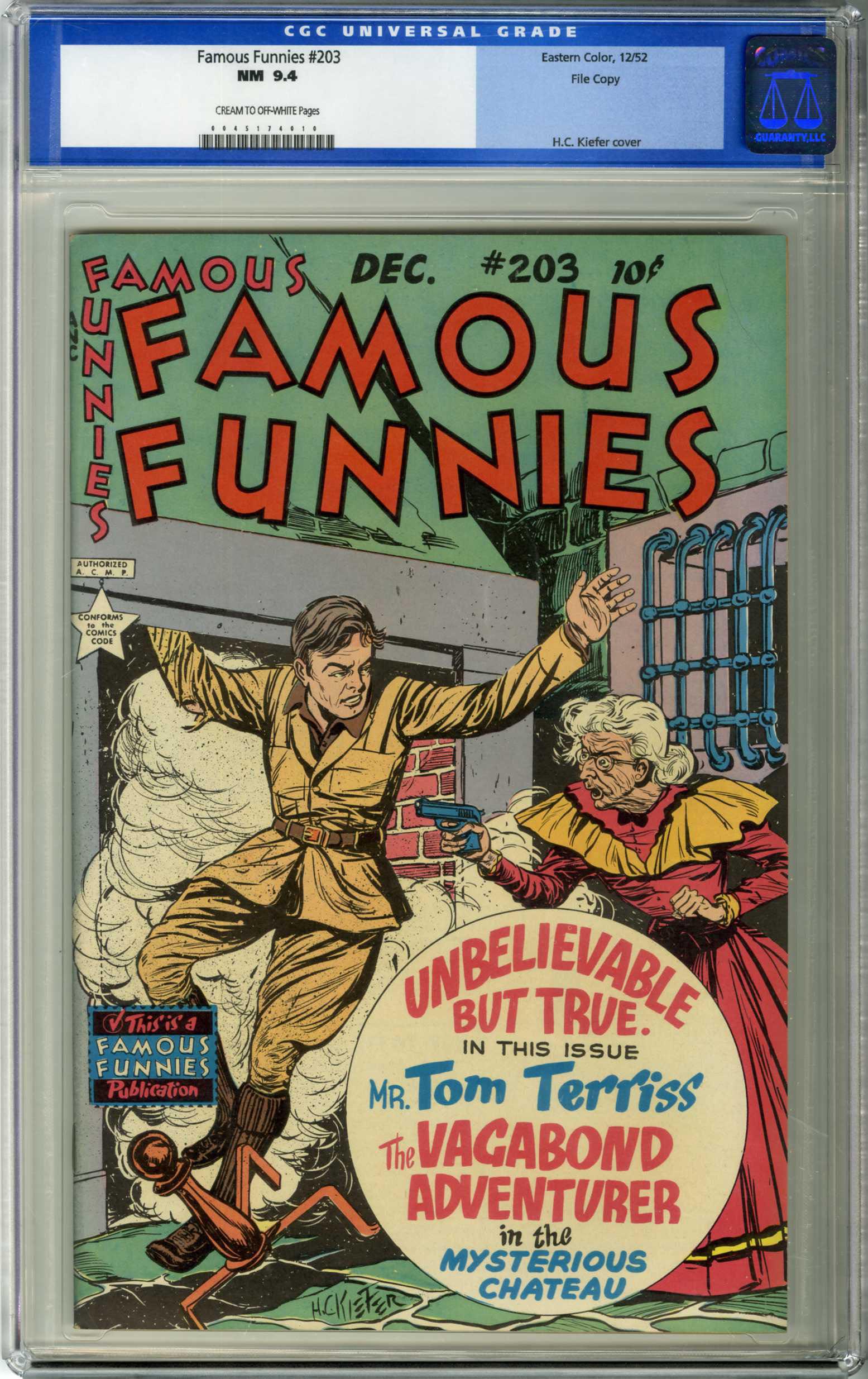 FAMOUS FUNNIES #203 (1952) CGC NM 9.4 COW Pages / FILE COPY / H.C. KIEFER COVER